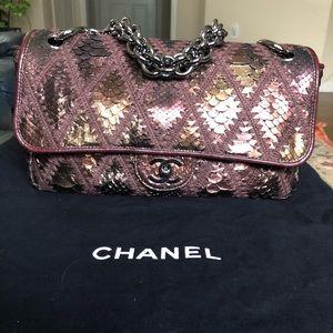 Chanel Jumbo Python Crochet Flap Bag